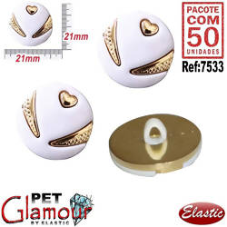 Botão Chaton Pet Glamour Bellissimo D Ouro - Pct/50und